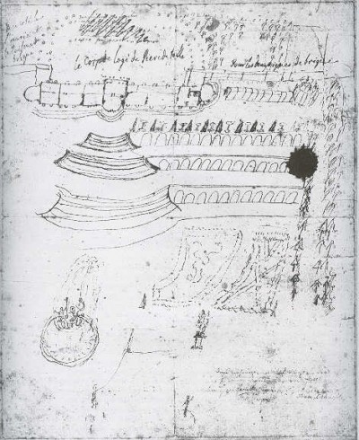 Sketch by Frederick the Great for the planning of Sans Souci