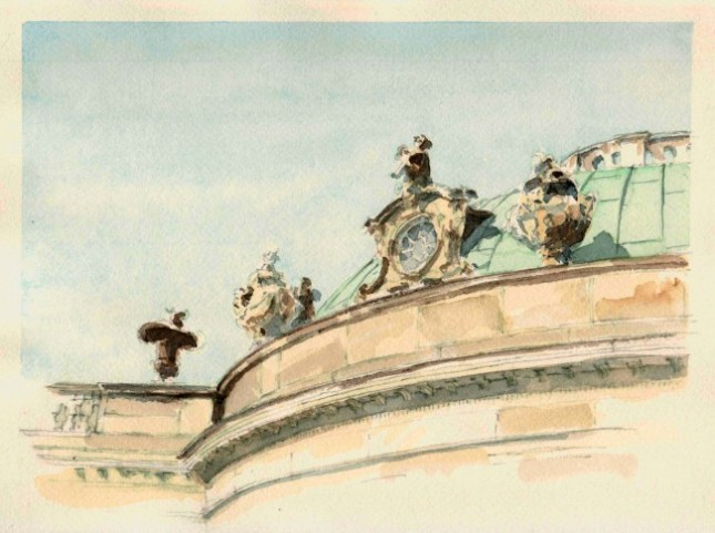 Water color of Sans Souci palace by Author