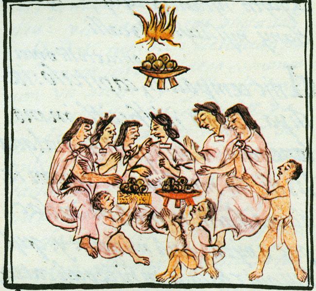 Florentine Codex, Book 2, which shows 'The Eating of Tamales Stuffed with Amaranth Greens.""