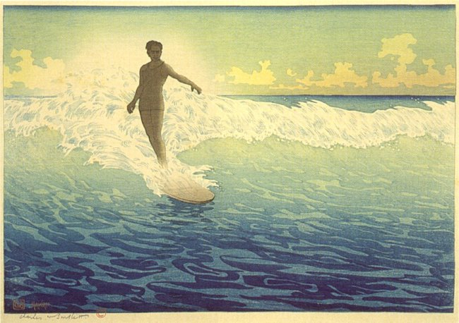 Image 11_'Hawaii,_The_Surf_Rider',_woodblock_print_by_Charles_W._Bartlett,_1921,_Honolulu_Academy_of_Arts