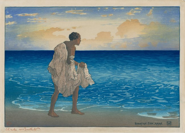 Image 12_Hawaiian_Fisherman,_woodblock_print_by_Charles_W._Bartlett