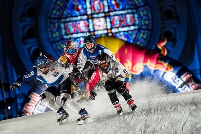 Marco Dallago of Austria, Miikka Jouhkinmainen of Finland, Denis Novozhilov of Russia and Tyler Roth of Canada compete during the 2015 Ice Cross Downhill World Championship at Red Bull Crashed Ice in Saint Paul, United States on January 24, 2015. // Joerg Mitter / Red Bull Content Pool // P-20150125-00058 // Usage for editorial use only // Please go to www.redbullcontentpool.com for further information. //