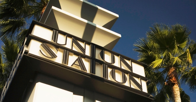 Low angle view of a station, Union Station Sign, Los Angeles, California, USA