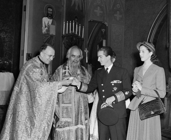 Image 28 - Exiled King Peter II and Queen Alexandria of Yugoslavia visiting on Easter Sunday in 1948