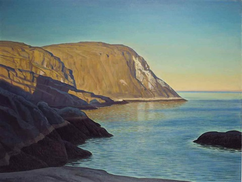 rockwell-kent-maine-headland,-evening