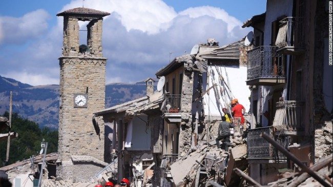 Amatrice after the recent earthquake