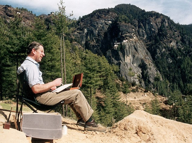 Pkt1453 - 052990 PRINCE CHARLES (LIFE TIME OF PICTURES BY PA) 1998 Prince Charles The Prince of Wales takes a short rest at a Buddhist prayer to paint a watercolour in the Bhutan Himalayas while trekking up to the Tigers nest monastry.